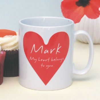My Heart Belongs To You Personalised Mug - Customised Gift for Valentine's Day, Anniversaries, Engagements or Weddings